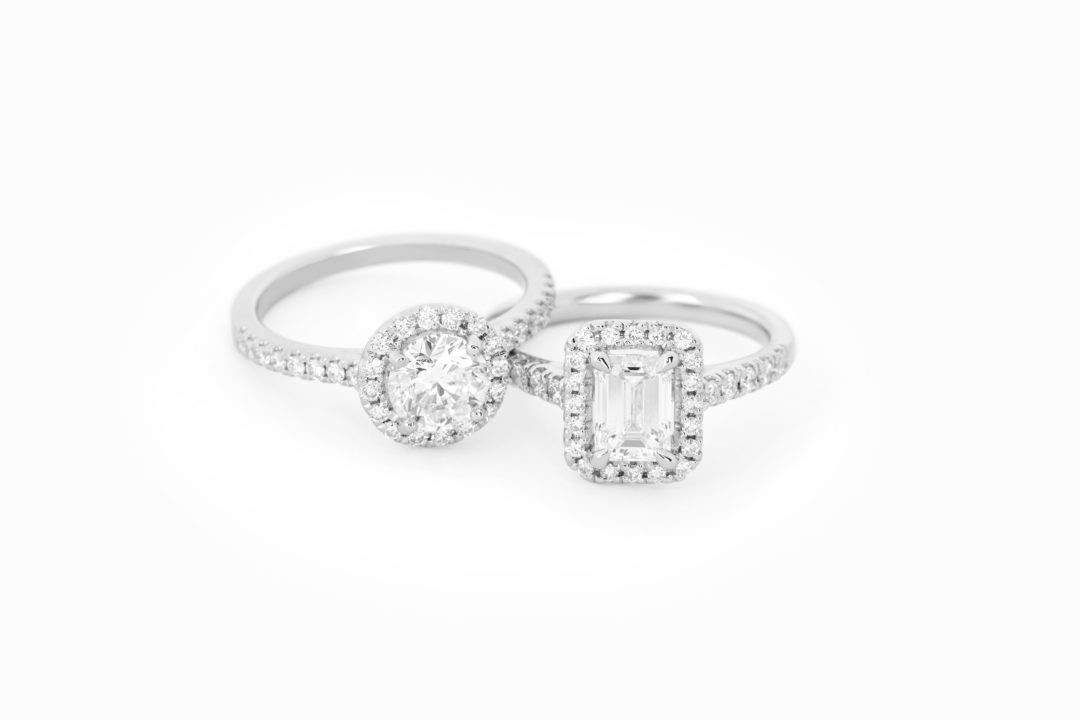 Diamond-Halo-Rings