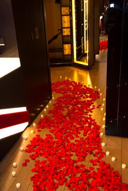 The rose petal path...